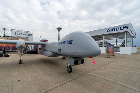 BERLIN, GERMANY - APRIL 25, 2018: Reconnaissance Medium-altitude long-endurance unmanned aerial vehicle IAI Eitan (Steadfast), also known as Heron TP. Exhibition ILA Berlin Air Show 2018.