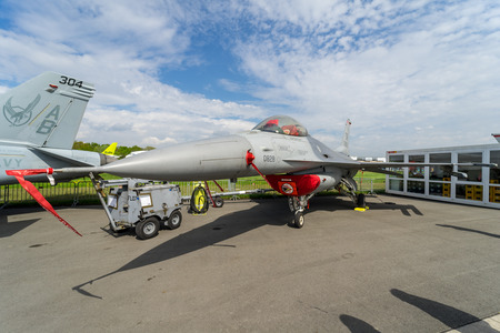 BERLIN, GERMANY - APRIL 25, 2018: Multirole fighter, air superiority fighter General Dynamics F-16 Fighting Falcon. US Air Force. Exhibition ILA Berlin Air Show 2018.