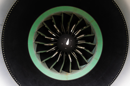 The turbofan jet engine, close up.