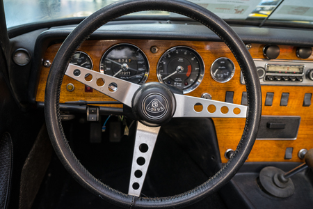 BERLIN - MAY 06, 2018: Interior of a sports car Lotus Elan S4,1968. Exhibition 31. Oldtimertage Berlin-Brandenburg (31th Berlin-Brandenburg Oldtimer Day).