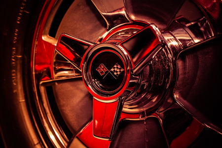 BERLIN - MAY 06, 2018: Wheel hub part of a sports car Chevrolet Corvette Sting Ray (C2). Close-up. Exhibition 31. Oldtimertage Berlin-Brandenburg (31th Berlin-Brandenburg Oldtimer Day).