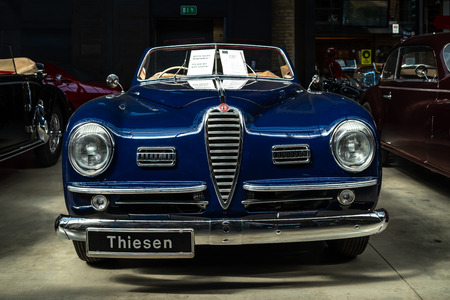 BERLIN - MAY 06, 2018: Luxury car Alfa Romeo 6C 2500 SS Cabriolet, 1949. Exhibition 31. Oldtimertage Berlin-Brandenburg (31th Berlin-Brandenburg Oldtimer Day).