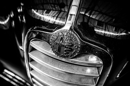 BERLIN - MAY 06, 2018: Emblem of luxury car Alfa Romeo 6C 2500, close-up. Black and white. Exhibition 31. Oldtimertage Berlin-Brandenburg (31th Berlin-Brandenburg Oldtimer Day). Editorial