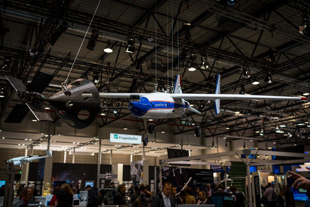BERLIN - APRIL 26, 2018: Space Pavilion. Stand of DLR (German Aerospace Center). Research unmanned aerial vehicle Prometheus. Exhibition ILA Berlin Air Show 2018 Editorial