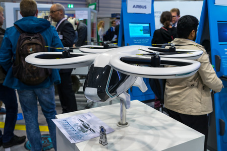 BERLIN - APRIL 26, 2018: Stand of Airbus. Concept model of personal air transport - City Airbus Helicopter. Exhibition ILA Berlin Air Show 2018