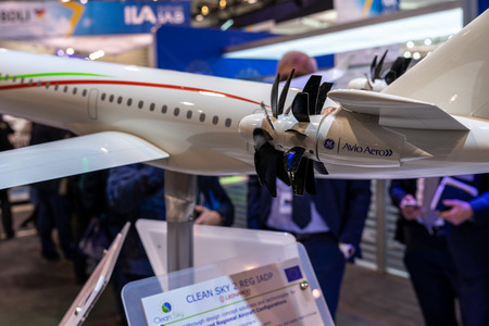 BERLIN - APRIL 26, 2018: Stand of Leonardo. Concept aircraft for the program Clean Sky 2. Exhibition ILA Berlin Air Show 2018