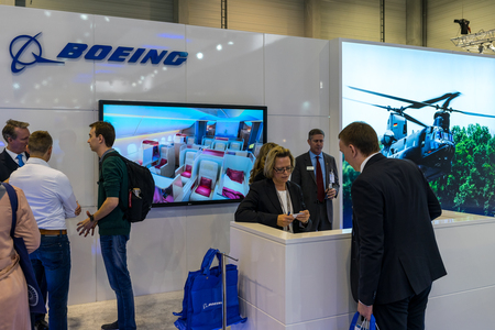 BERLIN - APRIL 26, 2018: Stand of Boeing. Exhibition ILA Berlin Air Show 2018