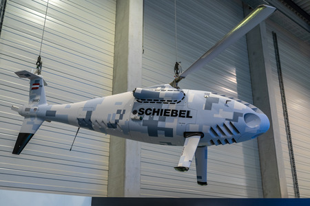 BERLIN - APRIL 26, 2018: Unmanned aerial vehicle (UAV) - Schiebel Camcopter S-100. Exhibition ILA Berlin Air Show 2018