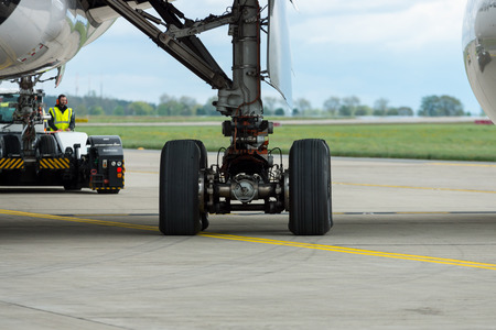 BERLIN - APRIL 26, 2018: One of the landing gear of the wide-body jet airliner Airbus A350 XWB. Exhibition ILA Berlin Air Show 2018. Editorial