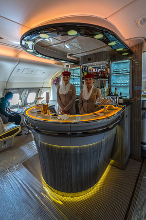 BERLIN - APRIL 26, 2018: The bar for the passengers the first and business class of the world's largest aircraft Airbus A380. Emirates Airline. Exhibition ILA Berlin Air Show 2018 報道画像