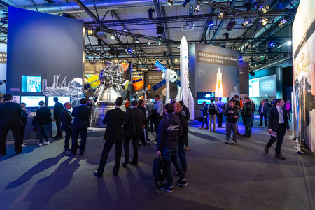 BERLIN - APRIL 26, 2018: Space Pavilion. Mockups of missile carriers European Space Agency (Ariane, Soyuz). Exhibition ILA Berlin Air Show 2018