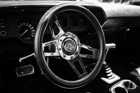 BERLIN - MAY 06, 2018: Interior of the pony car Plymouth Barracuda, 1974. Black and white. Oldtimertage Berlin-Brandenburg (31th Berlin-Brandenburg Oldtimer Day).