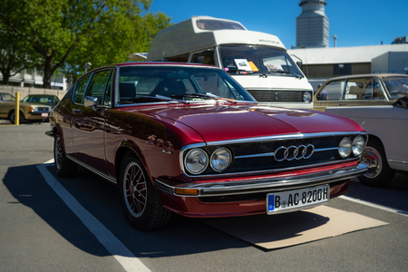 BERLIN - MAY 06, 2018: Sports car Audi 100 Coupe S, 1971. Oldtimertage Berlin-Brandenburg (31th Berlin-Brandenburg Oldtimer Day). Editorial