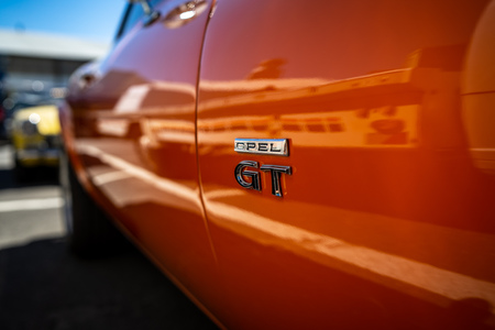 BERLIN - MAY 06, 2018: Emblem on the body of the sports car Opel GT. Oldtimertage Berlin-Brandenburg (31th Berlin-Brandenburg Oldtimer Day).