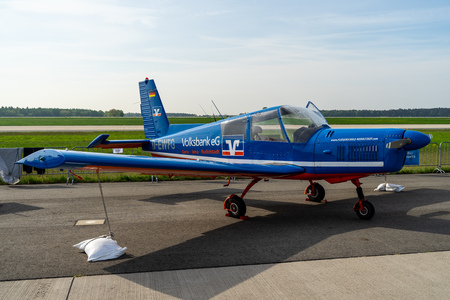 BERLIN - APRIL 27, 2018: Czech four-seat light trainer  touring aircraft Zlin Z43. Exhibition ILA Berlin Air Show 2018. Editorial