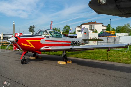 BERLIN - APRIL 27, 2018: Utility liaison or training monoplane Piaggio P.149D on the airfield. Exhibition ILA Berlin Air Show 2018.