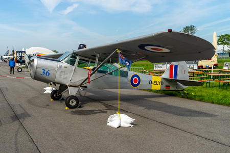 BERLIN - APRIL 27, 2018: Liaison aircraft Taylorcraft Auster Mk5 on the airfield. Exhibition ILA Berlin Air Show 2018.