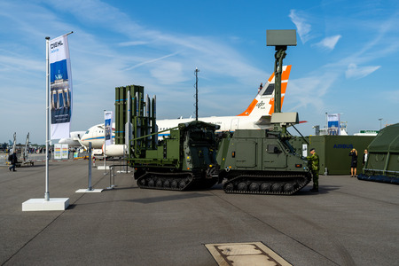 BERLIN, GERMANY - APRIL 27, 2018: IRIS-T SLS launching station with command and fire-control system of the company Diehl Defense. Exhibition ILA Berlin Air Show 2018 報道画像