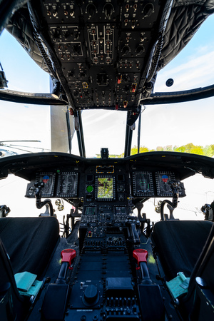 BERLIN, GERMANY - APRIL 27, 2018: Cockpit of the transport helicopter Boeing CH-47 Chinook. US Army. Exhibition ILA Berlin Air Show 2018 Editorial
