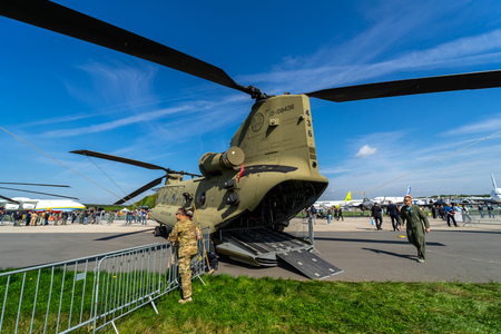 BERLIN, GERMANY - APRIL 27, 2018: Transport helicopter Boeing CH-47 Chinook. US Army. Exhibition ILA Berlin Air Show 2018