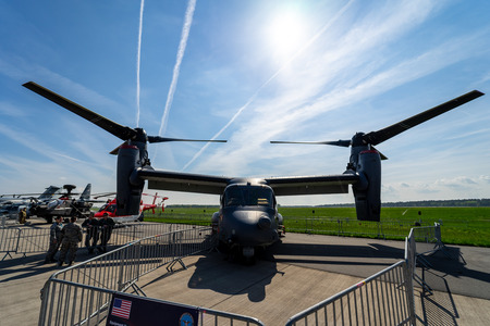BERLIN, GERMANY - APRIL 27, 2018: VSTOL military transport aircraft Bell Boeing V-22 Osprey. US Air Force. Exhibition ILA Berlin Air Show 2018 Editorial