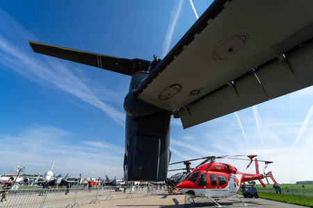 BERLIN, GERMANY - APRIL 27, 2018: Turboshaft engine Rolls-Royce T406 of the VSTOL military transport aircraft Bell Boeing V-22 Osprey. US Air Force. Exhibition ILA Berlin Air Show 2018