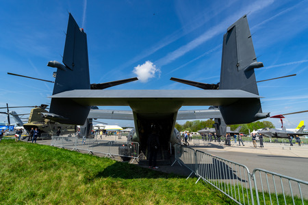 BERLIN, GERMANY - APRIL 27, 2018: VSTOL military transport aircraft Bell Boeing V-22 Osprey. Rear view. US Air Force. Exhibition ILA Berlin Air Show 2018