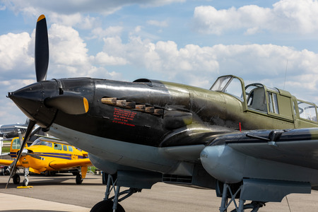BERLIN - APRIL 27, 2018: Soviet ground-attack aircraft Ilyushin Il-2 Shturmovik of the Great Patriotic War. Exhibition ILA Berlin Air Show 2018.
