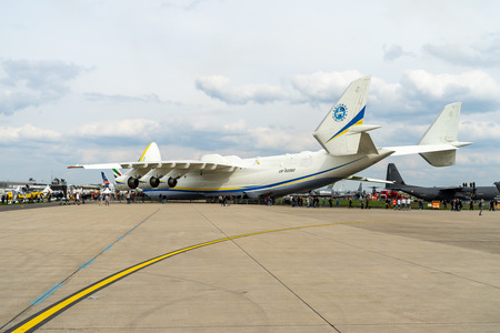 BERLIN, GERMANY - APRIL 27, 2018: Strategic airlifter Antonov An-225 Mriya by Antonov Airlines on the airfield. Exhibition ILA Berlin Air Show 2018