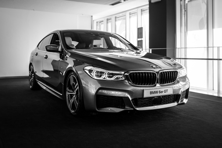 BERLIN - JUNE 09, 2018: Showroom. Mid-size luxury car BMW 6 Series (G32). Black and white.