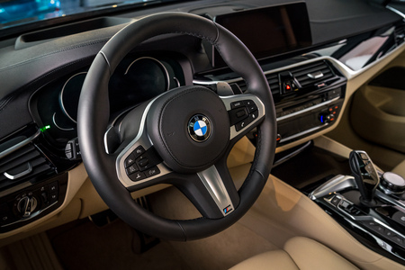 BERLIN - JUNE 09, 2018: Showroom. Interior of a mid-size luxury car BMW 6 Series (G32). Editorial