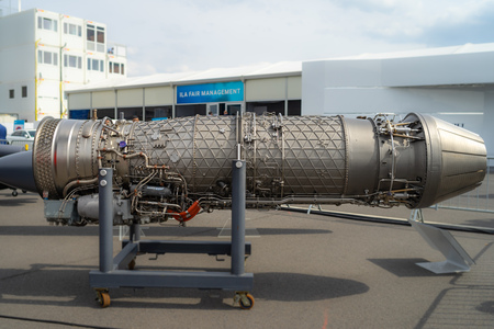BERLIN - APRIL 27, 2018: A military turbofan engine Eurojet EJ200, used as the powerplant of the multirole fighter Eurofighter Typhoon. Exhibition ILA Berlin Air Show 2018
