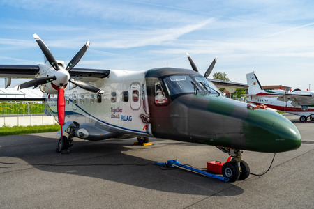 BERLIN - APRIL 27, 2018: A twin-turboprop STOL utility aircraft, Dornier 228 NG (New Generation). RUAG Aerospace Services GmbH. Exhibition ILA Berlin Air Show 2018 Editorial