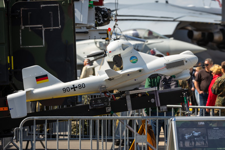 BERLIN - APRIL 27, 2018: An unmanned aerial vehicle EMT Luna X-2000. German Army. Exhibition ILA Berlin Air Show 2018