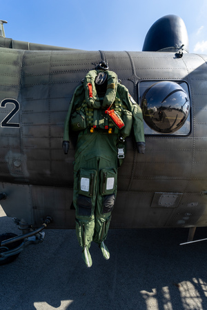 BERLIN - APRIL 27, 2018: Flight suit of the helicopter pilot of NAVY. Exhibition ILA Berlin Air Show 2018.