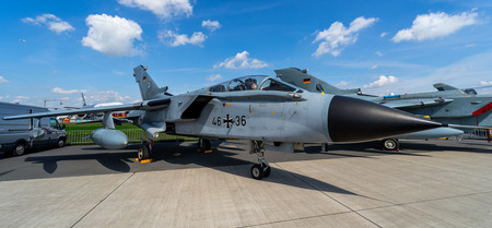 BERLIN - APRIL 27, 2018: Multirole, strike aircraft Panavia Tornado ECR. German Air Force. Exhibition ILA Berlin Air Show 2018 報道画像