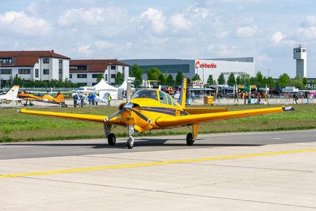 BERLIN - APRIL 27, 2018: Civil utility aircraft Beechcraft F33A Bonanza on the taxiway. Exhibition ILA Berlin Air Show 2018. Editorial