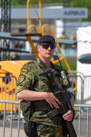 BERLIN - APRIL 27, 2018: Soldier of the military police of the Armed Forces of Germany. Exhibition ILA Berlin Air Show 2018. Editorial