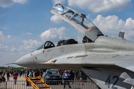 BERLIN - APRIL 27, 2018: Cockpit of the air superiority, multirole fighter Mikojan-Gurewitsch MiG-29. Polish Air Force. Exhibition ILA Berlin Air Show 2018.