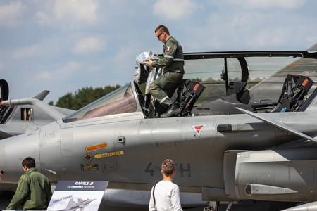 BERLIN - APRIL 27, 2018: Cockpit and pilot of the multirole fighter Dassault Rafale. French Air Force. Exhibition ILA Berlin Air Show 2018. Editorial