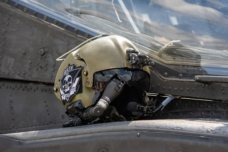 BERLIN - APRIL 27, 2018: Multifunctional helmet of the US Air Force helicopter pilot. Exhibition ILA Berlin Air Show 2018. Editorial
