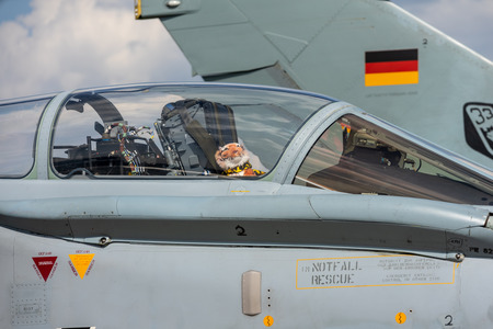 BERLIN - APRIL 27, 2018: The cockpit of the multirole fighter, strike aircraft Panavia Tornado. German Air Force. Exhibition ILA Berlin Air Show 2018.