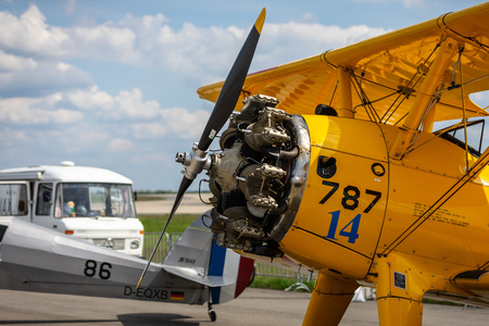 BERLIN - APRIL 27, 2018: Radial engine of the biplane trainer Boeing-Stearman Model 75 Kaydet. Exhibition ILA Berlin Air Show 2018. Editorial