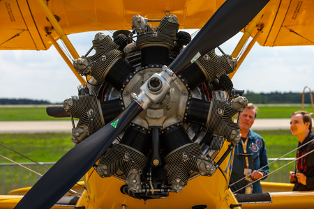 BERLIN - APRIL 27, 2018: Radial engine of the biplane trainer Boeing-Stearman Model 75 Kaydet. Exhibition ILA Berlin Air Show 2018.