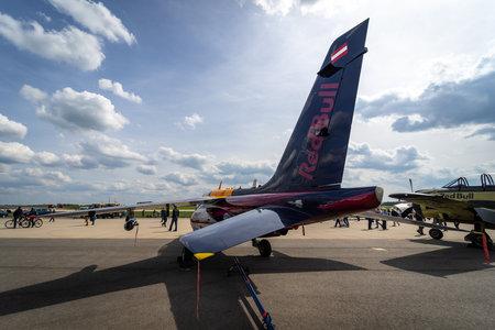 BERLIN - APRIL 27, 2018: Light attack and advanced trainer aircraft DassaultDornier Alpha Jet. Rear view. Flying Bulls Team. Exhibition ILA Berlin Air Show 2018. Editorial