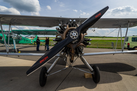 BERLIN - APRIL 27, 2018: Biplane trainer Focke-Wulf Fw 44J Stieglitz (Goldfinch). Exhibition ILA Berlin Air Show 2018. Editorial