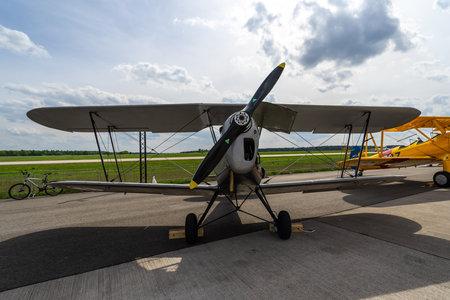 BERLIN - APRIL 27, 2018: Belgian two-seat trainer  tourer biplane Stampe-Vertongen SV.4. Exhibition ILA Berlin Air Show 2018. Editorial