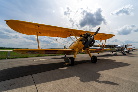 BERLIN - APRIL 27, 2018: The biplane trainer Boeing-Stearman Model 75 Kaydet. Exhibition ILA Berlin Air Show 2018. Stock Photo - 109961746