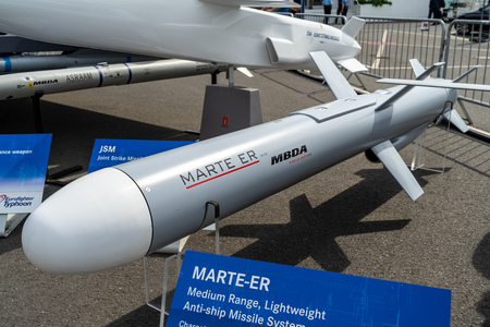 BERLIN - APRIL 27, 2018: An Italian anti-ship missile Marte-ER (Sea Killer). Exhibition ILA Berlin Air Show 2018. Sajtókép