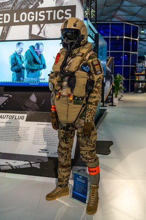 BERLIN - APRIL 27, 2018: Protective equipment for pilots CBRN protective clothing, design by AUTOFLUG GmbH. Exhibition ILA Berlin Air Show 2018.